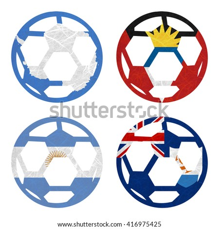 Nation Flag. Football recycled paper on white background. ( Anguilla , Antarctica , Antigua and Barbuda , Argentina ) - stock photo