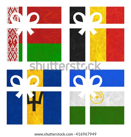 Nation Flag. Gift-box recycled paper on white background. ( Barbados , Bashkortostan , Belarus , Belgium ) - stock photo
