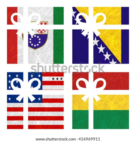 Nation Flag. Gift-box recycled paper on white background. ( Bikini Atoll , Bolivia , Bosnia and Herzegovina Federation of, Bosnia and Herzegovina ) - stock photo