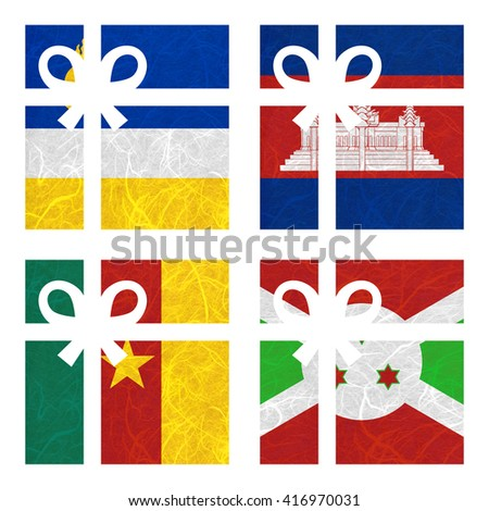 Nation Flag. Gift-box recycled paper on white background. ( Burundi , Buryatia , Cambodia , Cameroon ) - stock photo