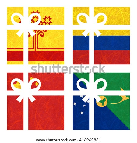 Nation Flag. Gift-box recycled paper on white background. ( China , Christmas Island , Chuvashia , Colombia ) - stock photo