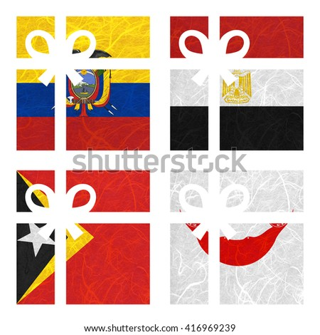 Nation Flag. Gift-box recycled paper on white background. ( East Timor , Easter Island Rapa nui , Ecuador , Egypt ) - stock photo