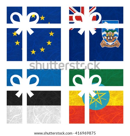 Nation Flag. Gift-box recycled paper on white background. ( Estonia , Ethiopia , European Union , Falkland Islands ) - stock photo
