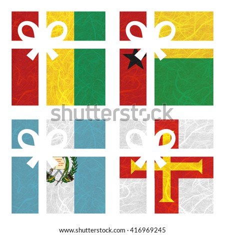 Nation Flag. Gift-box recycled paper on white background. ( Guatemala , Guernsey , Guinea , Guinea-Bissau ) - stock photo