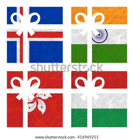 Nation Flag. Gift-box recycled paper on white background. ( Hong Kong , Hungary , Iceland , India ) - stock photo