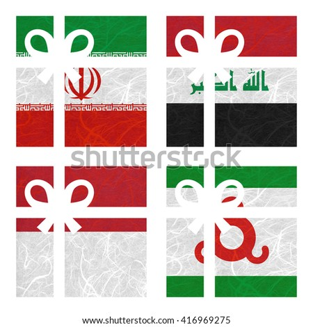 Nation Flag. Gift-box recycled paper on white background. ( Indonesia , Ingushetia , Iran , Iraq ) - stock photo