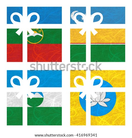 Nation Flag. Gift-box recycled paper on white background. ( Kabardino Balkarai , kalmykia , Karachay Cherkessia , Karakalpakstan ) - stock photo
