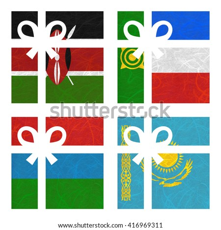 Nation Flag. Gift-box recycled paper on white background. ( Karelia , Kazakhstan , Kenya , Khakassia ) - stock photo