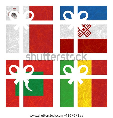 Nation Flag. Gift-box recycled paper on white background. ( Maldives , Mali , Malta , Mari El ) - stock photo