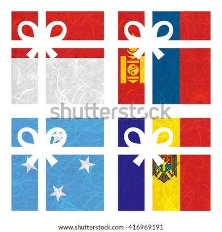 Nation Flag. Gift-box recycled paper on white background. ( Micronesia Federated States , Moldova , Monaco , Mongolia ) - stock photo