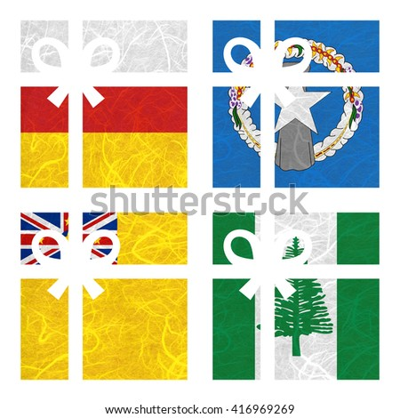 Nation Flag. Gift-box recycled paper on white background. ( Niue , Norfolk Island , North Ossetia , Northern Mariana Islands ) - stock photo