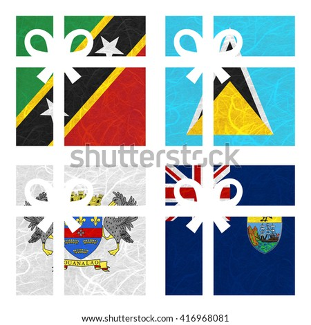 Nation Flag. Gift-box recycled paper on white background. ( Saint Barthelemy , Saint Helena , Saint Kitts and Nevis , Saint Lucia ) - stock photo