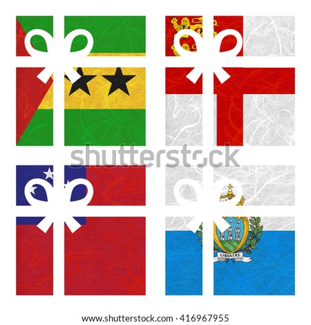 Nation Flag. Gift-box recycled paper on white background. ( Samoa , San Marino , Sao Tome and Principe , Sark ) - stock photo