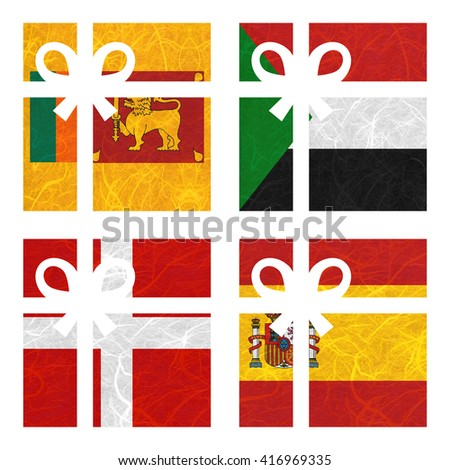 Nation Flag. Gift-box recycled paper on white background. ( Sovereign Military Order of Malta , Spain , Sri Lanka , Sudan ) - stock photo