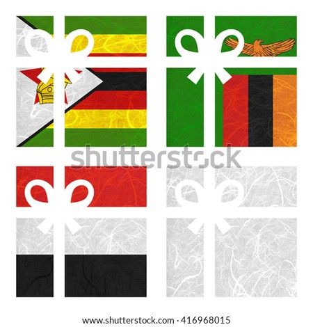 Nation Flag. Gift-box recycled paper on white background. ( Yemen, Zambia , Zimbabwe , White Blank ) - stock photo