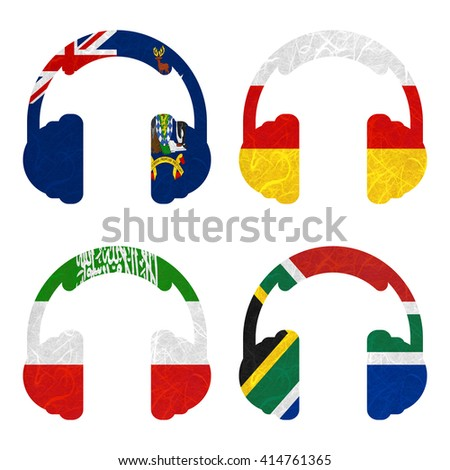 Nation Flag. Headphone recycled paper on white background. ( Somaliland , South Africa , South Georgia and the South Sandwich Islands , South Ossetia ) - stock photo