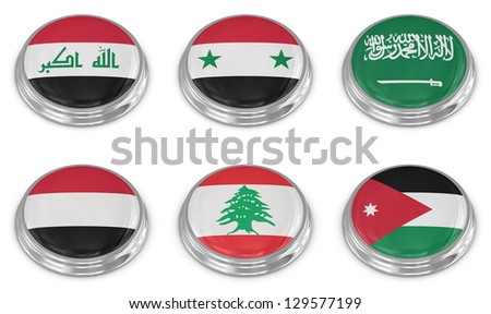 Nation flag icon set , computer generated image. 3d render. - stock photo