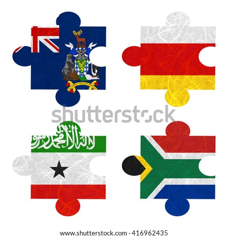 Nation Flag. Jigsaw recycled paper on white background. ( Somaliland , South Africa , South Georgia and the South Sandwich Islands , South Ossetia ) - stock photo