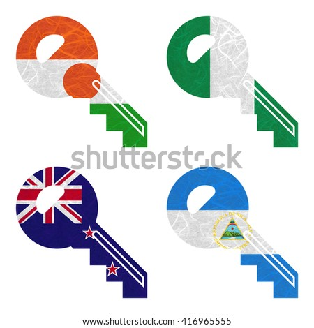 Nation Flag. Key recycled paper on white background. ( New Zealand , Nicaragua , Niger , Nigeria ) - stock photo