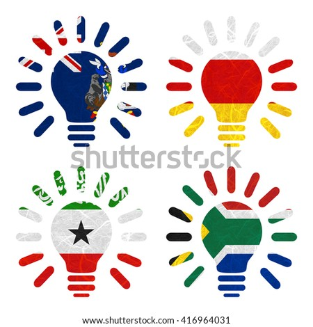 Nation Flag. Light bulb recycled paper on white background. ( Somaliland , South Africa , South Georgia and the South Sandwich Islands , South Ossetia ) - stock photo
