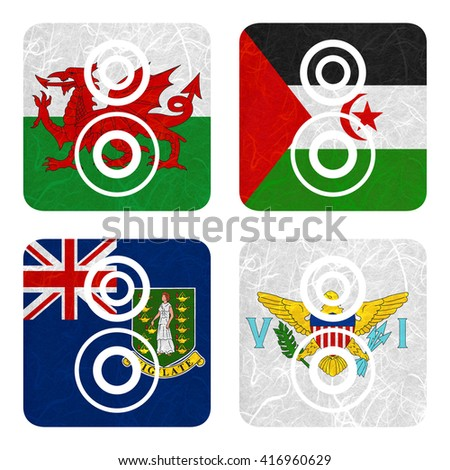 Nation Flag. Loudspeaker recycled paper on white background. ( Virgin Islands - UK , Virgin Islands - US , Wales , Western Sahara )
