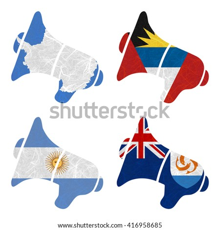 Nation Flag. Megaphone recycled paper on white background. ( Anguilla , Antarctica , Antigua and Barbuda , Argentina ) - stock photo