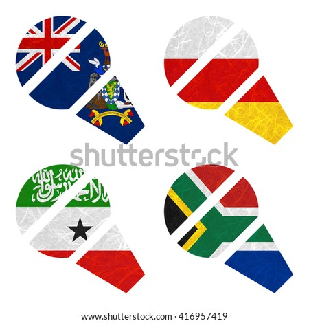 Nation Flag. Microphone recycled paper on white background. ( Somaliland , South Africa , South Georgia and the South Sandwich Islands , South Ossetia ) - stock photo