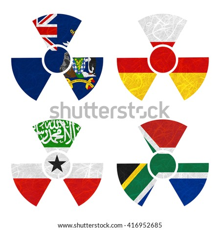 Nation Flag. Nuclear recycled paper on white background. ( Somaliland , South Africa , South Georgia and the South Sandwich Islands , South Ossetia ) - stock photo