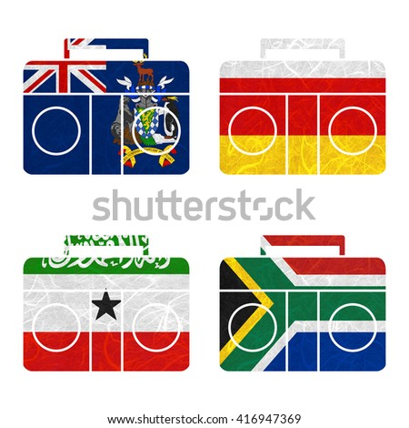 Nation Flag. Radio recycled paper on white background. ( Somaliland , South Africa , South Georgia and the South Sandwich Islands , South Ossetia ) - stock photo
