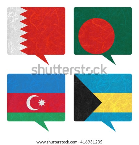Nation Flag. Speech-balloons recycled paper on white background. ( Azerbaijan , Bahamas , Bahrain , Bangladesh )