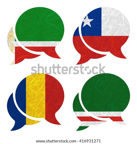 Nation Flag. Speech-balloons recycled paper on white background. ( Chad , Chechen Republic of Ichkeria , Chechen Republic , Chile )