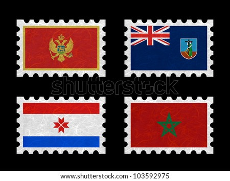 Nation Flag. Stamp recycled paper on white background. ( Montenegro , Montserrat , Mordovia , Morocco )