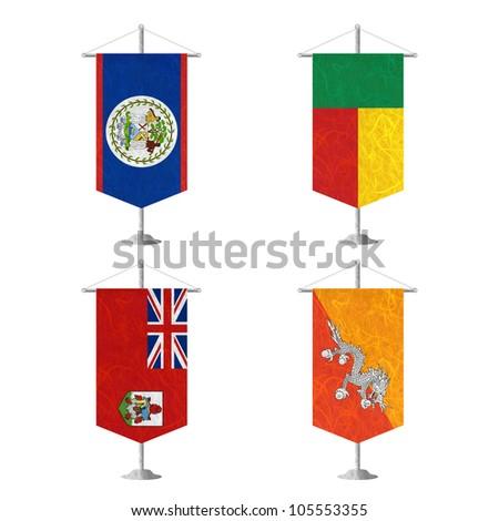 Nation Flag. Table flag recycled paper on white background. ( Belize , Benin , Bermuda , Bhutan ) - stock photo