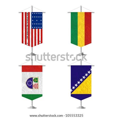 Nation Flag. Table flag recycled paper on white background. ( Bikini Atoll , Bolivia , Bosnia and Herzegovina Federation of, Bosnia and Herzegovina ) - stock photo