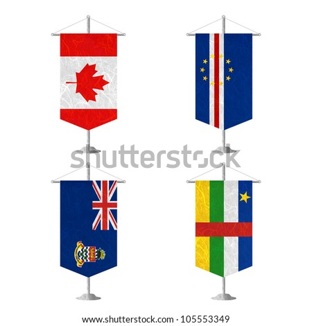 Nation Flag. Table flag recycled paper on white background. ( Canada , Cape Verde , Cayman Islands , Central African Republic ) - stock photo