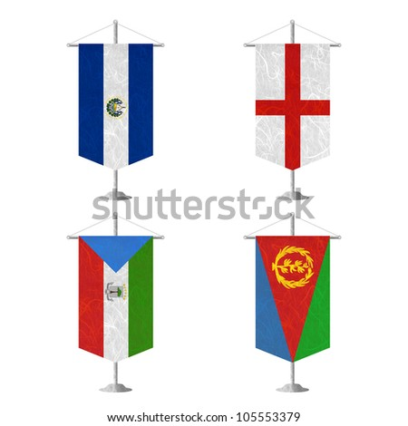 Nation Flag. Table flag recycled paper on white background. ( El Salvador , England , Equatorial Guinea , Eritrea ) - stock photo