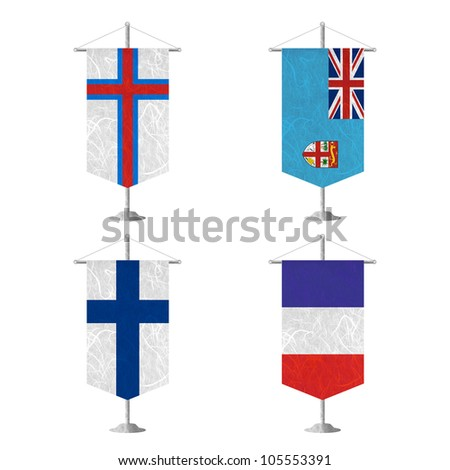 Nation Flag. Table flag recycled paper on white background. ( Faroe Islands , Fiji , Finland , France ) - stock photo