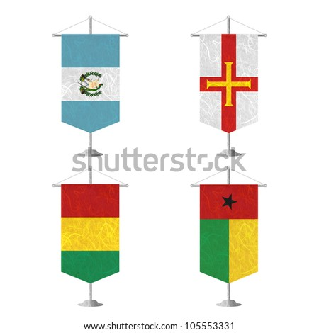 Nation Flag. Table flag recycled paper on white background. ( Guatemala , Guernsey , Guinea , Guinea-Bissau ) - stock photo