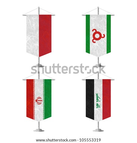 Nation Flag. Table flag recycled paper on white background. ( Indonesia , Ingushetia , Iran , Iraq ) - stock photo