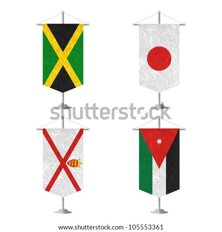 Nation Flag. Table flag recycled paper on white background. ( Jamaica , Japan , Jersey , Jordan ) - stock photo