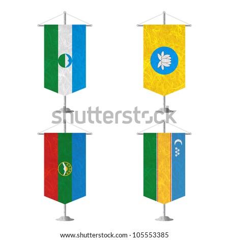 Nation Flag. Table flag recycled paper on white background. ( Kabardino Balkarai , kalmykia , Karachay Cherkessia , Karakalpakstan ) - stock photo