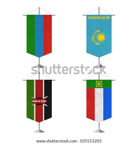 Nation Flag. Table flag recycled paper on white background. ( Karelia , Kazakhstan , Kenya , Khakassia ) - stock photo