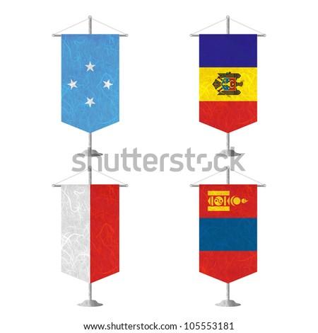 Nation Flag. Table flag recycled paper on white background. ( Micronesia Federated States , Moldova , Monaco , Mongolia ) - stock photo