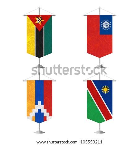 Nation Flag. Table flag recycled paper on white background. ( Mozambique , Myanmar , Nagorno-Karabakh Republic , Namibia ) - stock photo