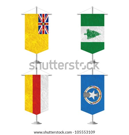 Nation Flag. Table flag recycled paper on white background. ( Niue , Norfolk Island , North Ossetia , Northern Mariana Islands ) - stock photo