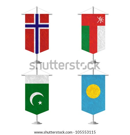 Nation Flag. Table flag recycled paper on white background. ( Norway , Oman , Pakistan , Palau ) - stock photo