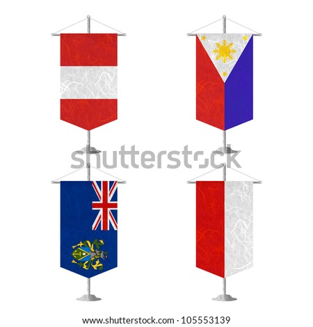 Nation Flag. Table flag recycled paper on white background. ( Peru , Philippines , Pitcairn Islands , Poland ) - stock photo