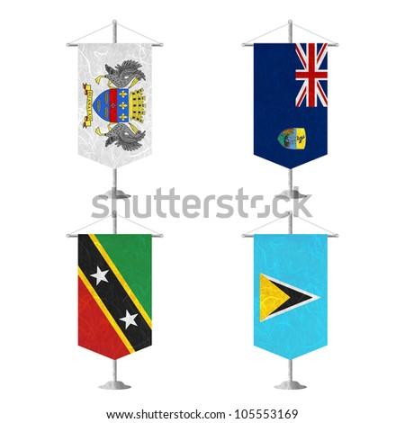 Nation Flag. Table flag recycled paper on white background. ( Saint Barthelemy , Saint Helena , Saint Kitts and Nevis , Saint Lucia ) - stock photo
