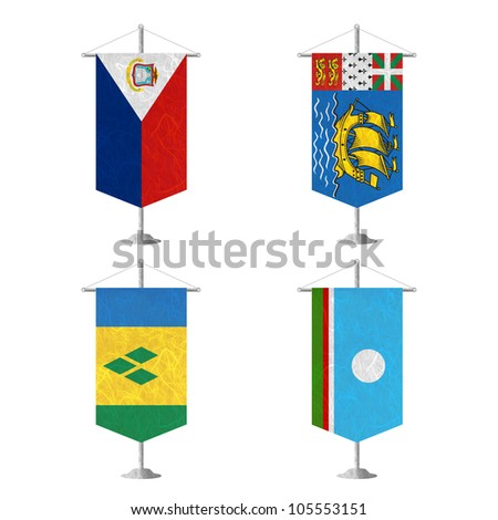 Nation Flag. Table flag recycled paper on white background. ( Saint Martin , Saint Pierre and Miquelon, Saint Vincent and the Grenadines , Sakha Republic ) - stock photo