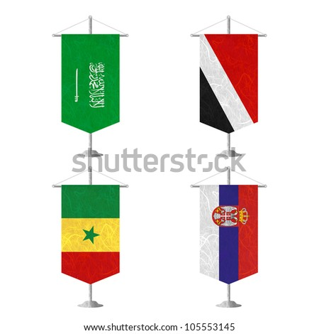 Nation Flag. Table flag recycled paper on white background. ( Saudi Arabia , Sealand Principality , Senegal , Serbia ) - stock photo
